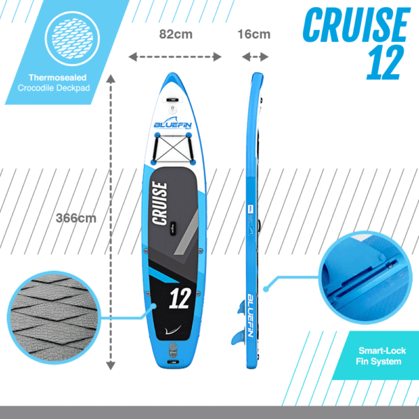 """Durable Bluefin SUP Backpack, Bluefin Cruise SUP Package   Stand Up Inflatable Paddle Board   6"""" Thick   Fibreglass Paddle   Kayak Conversion Kit  (10'8″   12′   15′)"""